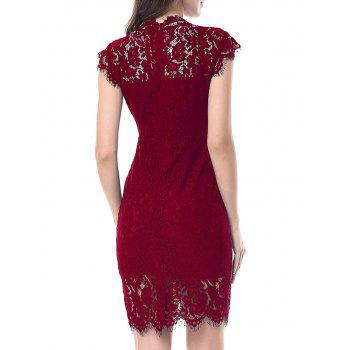 Vintage Fitted Lace Dress - WINE RED 2XL