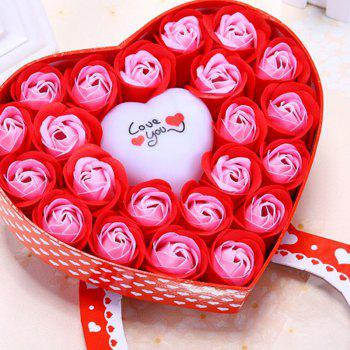 Valentine's Day Gift Led Flash Light Heart and Soap Roses Flowers in a Box - RED RED