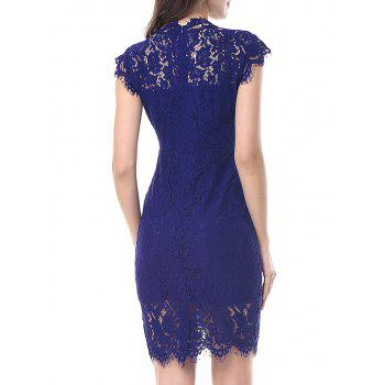 Vintage Fitted Lace Dress - BLUE BLUE
