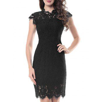 Vintage Fitted Lace Dress - BLACK 2XL