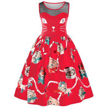 Kitten Print Sleeveless Fit and Flare Dress - RED RED