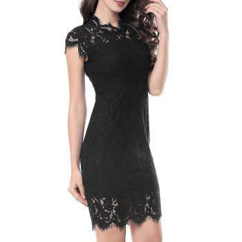 Vintage Fitted Lace Dress - BLACK XL