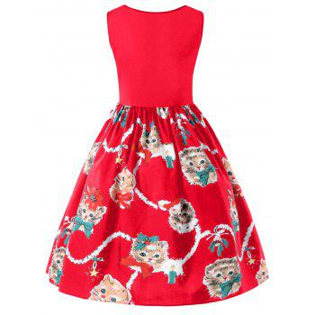 Kitten Print Sleeveless Fit and Flare Dress - RED L