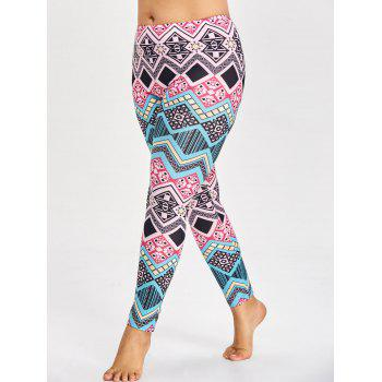 Sports Plus Size Tribal Pattern Leggings - multicolorCOLOR 2XL