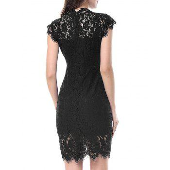 Vintage Fitted Lace Dress - BLACK BLACK