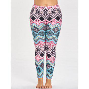 Sports Plus Size Tribal Pattern Leggings - multicolorCOLOR multicolorCOLOR