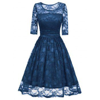 Vintage Fit and Flare Party Lace Dress - BLUE BLUE