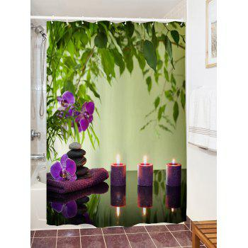 Flower Candles Print Waterproof Shower Curtain - COLORMIX W59 INCH * L71 INCH