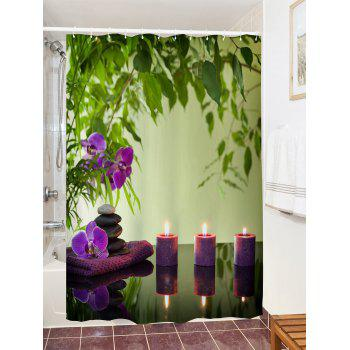Flower Candles Print Waterproof Shower Curtain - COLORMIX W71 INCH * L71 INCH