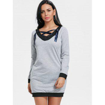 V Neck Lace Up Long Sleeve Dress - GRAY GRAY