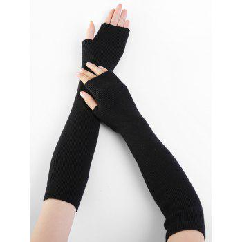 Soft Striped Pattern Knitted Fingerless Gloves -  BLACK