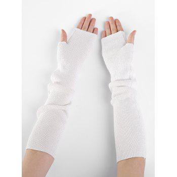 Soft Striped Pattern Knitted Fingerless Gloves - WHITE