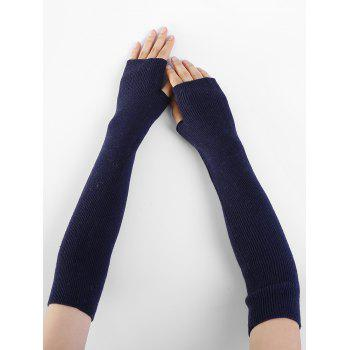 Soft Striped Pattern Knitted Fingerless Gloves - CADETBLUE