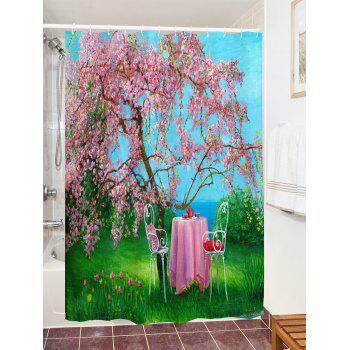 Flower Tree Table Print Waterproof Shower Curtain - COLORMIX COLORMIX