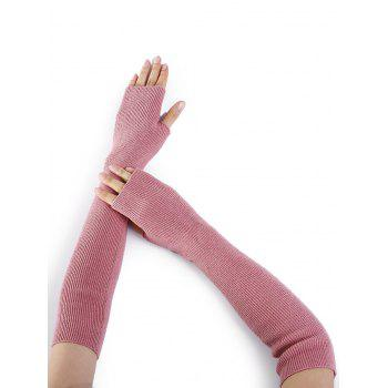 Soft Striped Pattern Knitted Fingerless Gloves - PINK PINK
