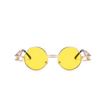 Hollow Out Metal Frame Embellished Round Sunglasses - YELLOW