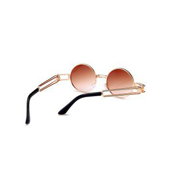 Hollow Out Metal Frame Embellished Round Sunglasses - TEA COLORED