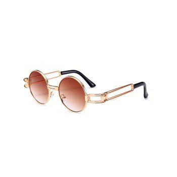Hollow Out Metal Frame Embellished Round Sunglasses - TEA-COLORED TEA COLORED
