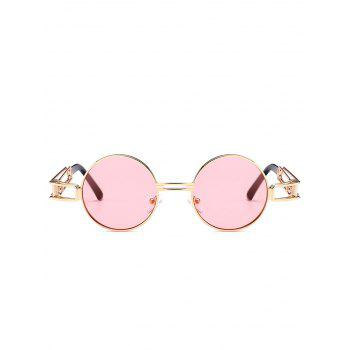 Hollow Out Metal Frame Embellished Round Sunglasses - LIGHT PINK