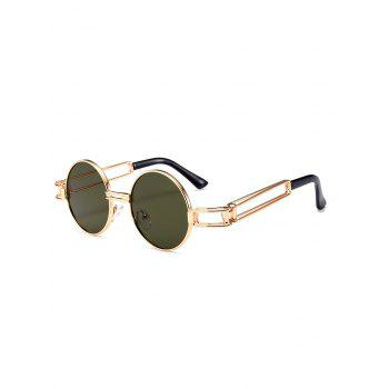 Hollow Out Metal Frame Embellished Round Sunglasses - BLACKISH GREEN BLACKISH GREEN