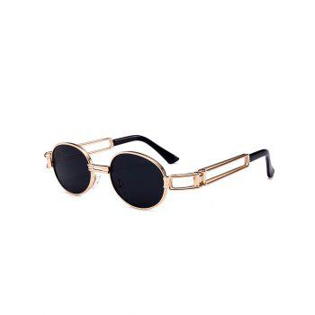 Anti UV Hollow Out Decorated Metal Full Frame Oval Sunglasses - BLACK BLACK