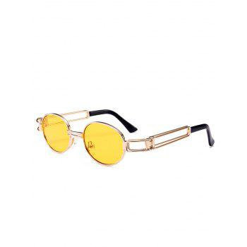 Anti UV Hollow Out Decorated Metal Full Frame Oval Sunglasses - YELLOW YELLOW