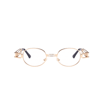 Anti UV Hollow Out Decorated Metal Full Frame Oval Sunglasses -  CLEAR WHITE