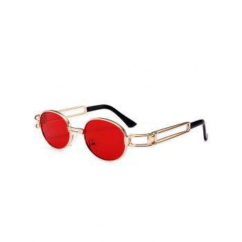 Anti UV Hollow Out Decorated Metal Full Frame Oval Sunglasses - RED RED