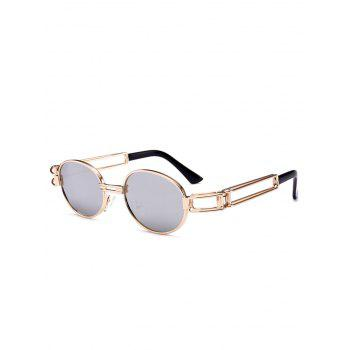 Anti UV Hollow Out Decorated Metal Full Frame Oval Sunglasses - REFLECTIVE WHITE COLOR REFLECTIVE WHITE COLOR