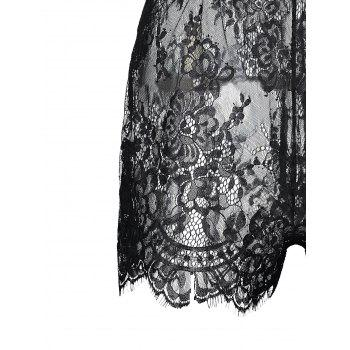 Plus Size Lace Sheer Slip Teddy - BLACK BLACK