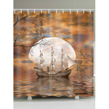 Moon Ship Print Waterproof Fabric Shower Curtain - COLORMIX COLORMIX