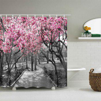 Flower Trees Path Print Waterproof Shower Curtain - COLORMIX COLORMIX