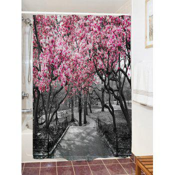 Flower Trees Path Print Waterproof Shower Curtain - COLORMIX W71 INCH * L71 INCH