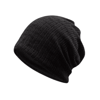 Outdoor Crochet Knitted Lightweight Beanie - BLACK