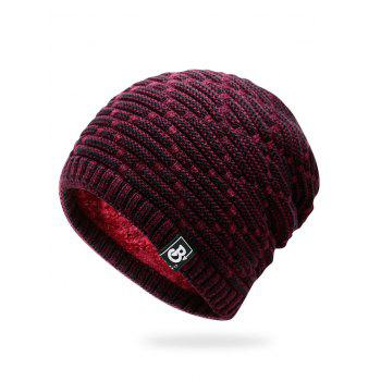Letter Label Colormix Thicken Knitting Slouchy Beanie - WINE RED WINE RED