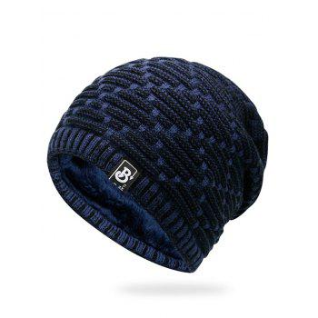 Letter Label Colormix Thicken Knitting Slouchy Beanie - CERULEAN CERULEAN