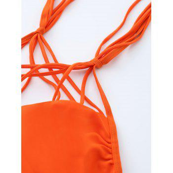 Halter Strappy Caged Bikini Set - ORANGE S