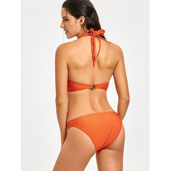 Halter Strappy Caged Bikini Set - ORANGE ORANGE