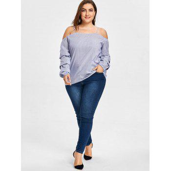 Plus Size Tiered Sleeve Striped Slip Blouse - CLOUDY CLOUDY