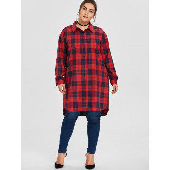 Plus Size Button Up Plaid Shirt - RED RED
