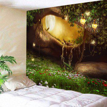 Fantasy Forest Hole Pattern Wall Decor Tapestry - COLORMIX COLORMIX
