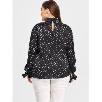 Plus Size Keyhole Star Blouse - BLACK 5XL