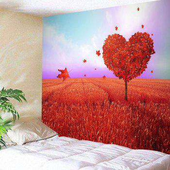Valentine's Day Love Heart Tree Printed Novelty Wall Tapestry - RED RED