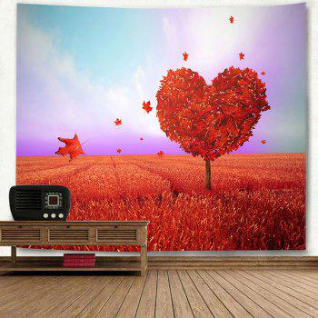 Valentine's Day Love Heart Tree Printed Novelty Wall Tapestry - RED W91 INCH * L71 INCH