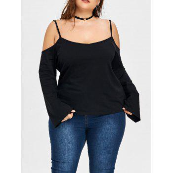 Plus Size Open Shoulder Slip Blouse - BLACK BLACK