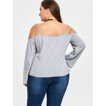 Plus Size Open Shoulder Slip Blouse - GRAY GRAY