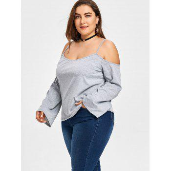Plus Size Open Shoulder Slip Blouse - GRAY 3XL