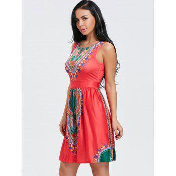 Sleeveless Ethnic Print Dress - RED RED