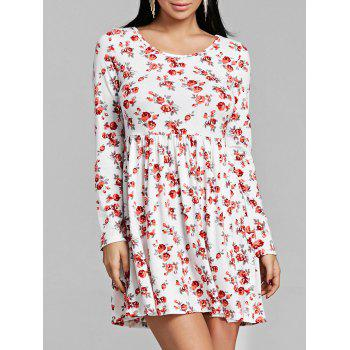 Tiny Floral Print Long Sleeve Dress - RED RED