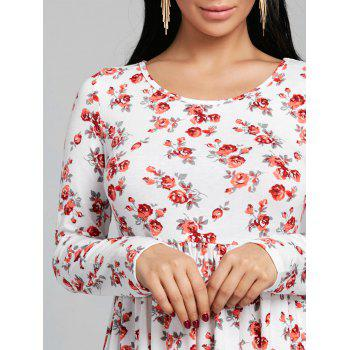 Tiny Floral Print Long Sleeve Dress - RED M